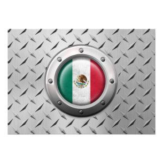 Bandera mexicana industrial con el gráfico de acer