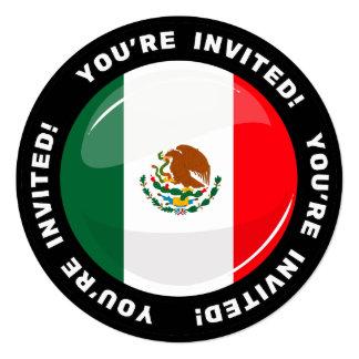 Bandera mexicana redonda brillante invitación 13,3 cm x 13,3cm
