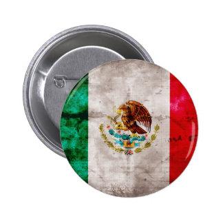 Bandera mexicana resistida chapa redonda de 5 cm