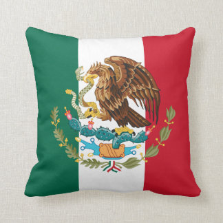 Bandera mexicana verde y escudo de armas blancos y cojín decorativo