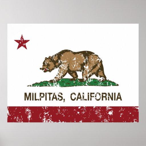 Bandera Milpitas del estado de California Impresiones