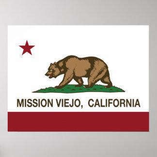 Bandera Mission Viejo del estado de California Poster