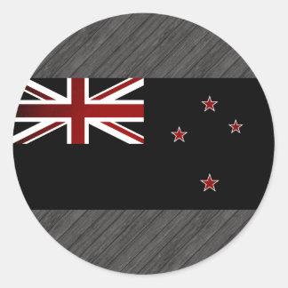 Bandera monocromática de Nueva Zelanda Pegatina Redonda