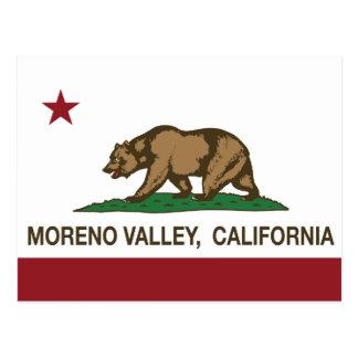 Bandera Moreno Valley del estado de California Postales