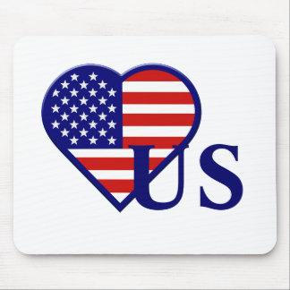 Bandera Mousepad del corazón de Estados Unidos Alfombrilla De Raton