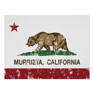 Bandera Murrieta del estado de California Posters