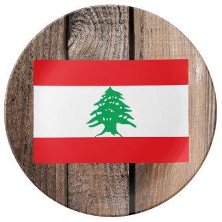 Bandera nacional de Líbano Plato De Porcelana