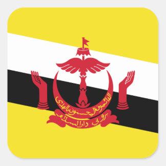 Bandera nacional del mundo de Brunei Pegatina Cuadrada