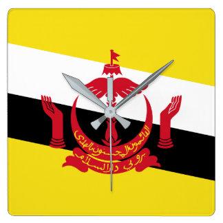 Bandera nacional del mundo de Brunei Reloj Cuadrado