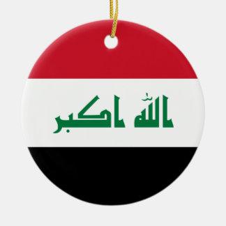 Bandera nacional del mundo de Iraq Adorno Navideño Redondo De Cerámica