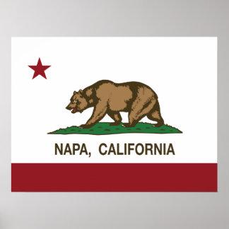 Bandera Napa del estado de California Póster