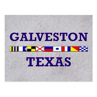 Bandera náutica de Galveston - postal de la arena