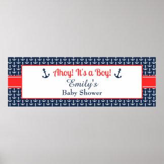 Bandera náutica de la fiesta de bienvenida al bebé posters