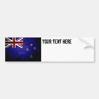 Bandera negra 1 de Nueva Zelanda del Grunge Pegatina Para Coche