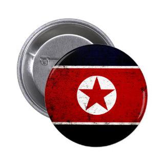 Bandera negra 2 de Corea del Norte del Grunge Chapa Redonda De 5 Cm