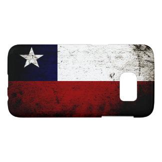 Bandera negra de Chile del Grunge Funda Samsung Galaxy S7