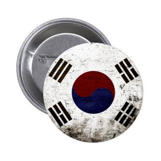 Bandera negra de la Corea del Sur del Grunge Chapa Redonda De 5 Cm
