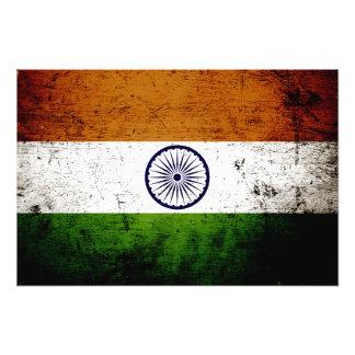 Bandera negra de la India del Grunge Impresiones Fotograficas
