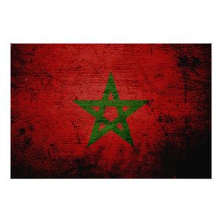 Bandera negra de Marruecos del Grunge Impresión Fotográfica