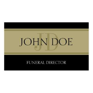 Bandera negra/de oro de la funeraria tarjetas de visita