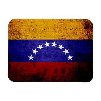 Bandera negra de Venezuela del Grunge Imanes De Vinilo
