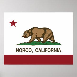 Bandera Norco del estado de California Poster