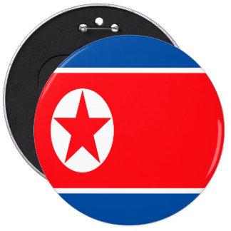 Bandera norcoreana chapa redonda de 15 cm
