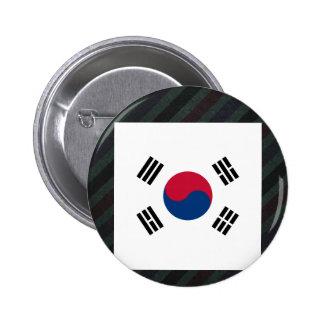 Bandera oficial de la Corea del Sur en rayas Chapa Redonda 5 Cm