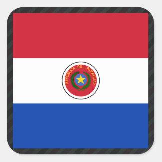 Bandera oficial de Paraguay en rayas Pegatina Cuadrada