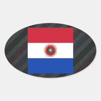 Bandera oficial de Paraguay en rayas Pegatina Ovalada