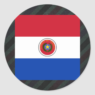 Bandera oficial de Paraguay en rayas Pegatina Redonda