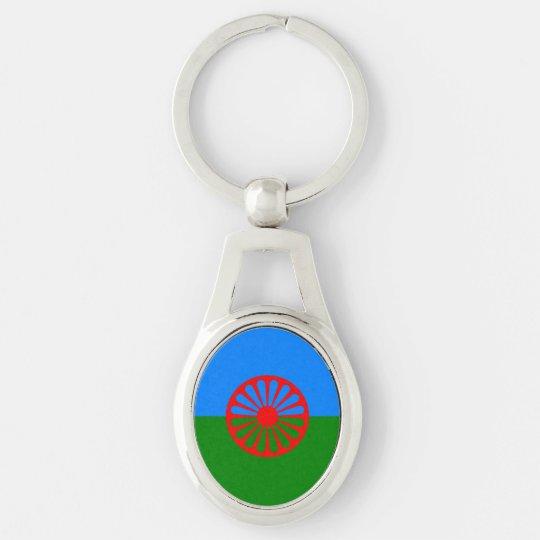 Bandera oficial del gitano del Romany Llavero Plateado Ovalado