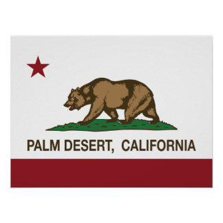 Bandera Palm Desert del estado de California Poster