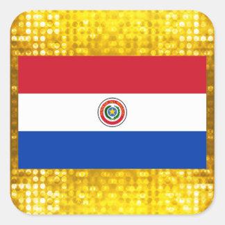 Bandera paraguaya oficial pegatina cuadrada