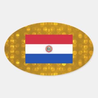 Bandera paraguaya oficial pegatina ovalada