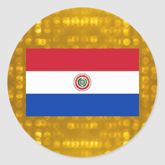 Bandera paraguaya oficial pegatina redonda