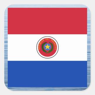 Bandera paraguaya que flota en el agua pegatina cuadrada