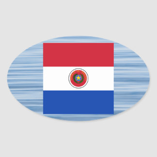 Bandera paraguaya que flota en el agua pegatina ovalada
