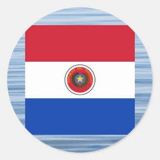Bandera paraguaya que flota en el agua pegatina redonda