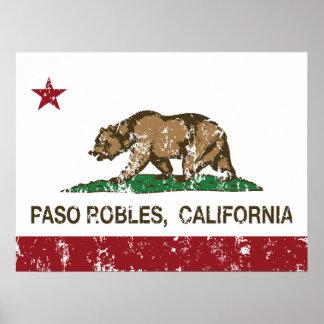 Bandera Pasa Robles del estado de California Póster