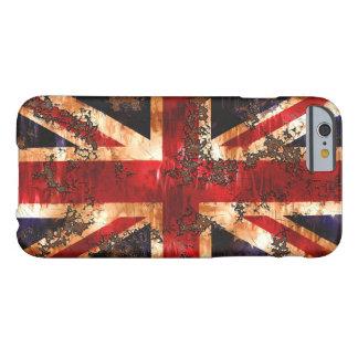 Bandera patriótica aherrumbrada de Reino Unido Funda Barely There iPhone 6