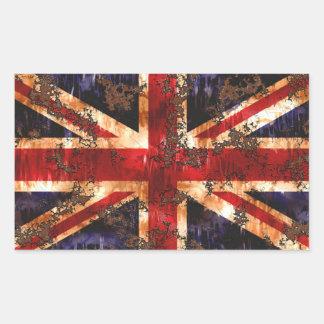 Bandera patriótica aherrumbrada de Reino Unido Pegatina Rectangular