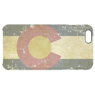 Bandera patriótica de papel gastada del estado de funda transparente para iPhone 6 plus