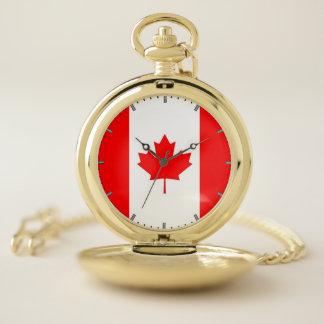 Bandera patriótica del reloj de bolsillo de Canadá
