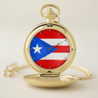 Bandera patriótica del reloj de bolsillo de Puerto