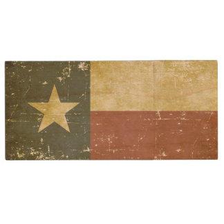Bandera patriótica gastada del estado de Tejas Memoria USB De Madera