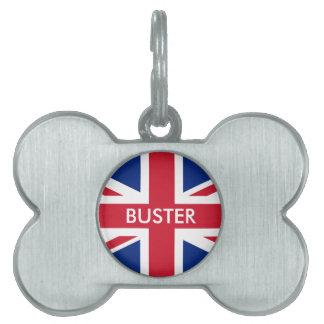 Bandera personalizada de Reino Unido Placas De Nombre De Mascota