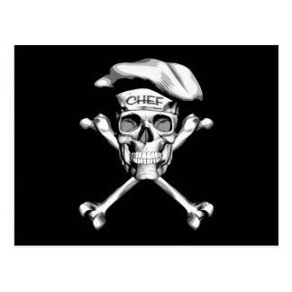 Bandera pirata del cráneo del cocinero: Blanco Postal