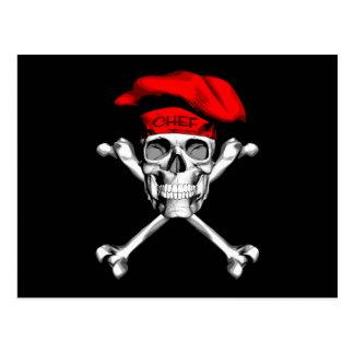 Bandera pirata del cráneo del cocinero: Rojo Postal