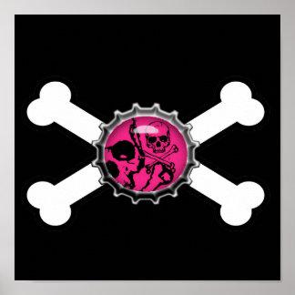 bandera pirata rosada del bottlecap del cráneo del póster